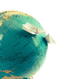 Globe with paper ships Royalty Free Stock Image
