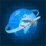Globe and passenger aircraft Royalty Free Stock Photos