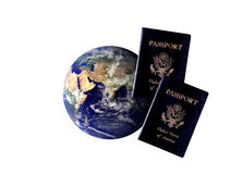 Globe and Passports Royalty Free Stock Photo