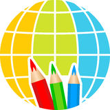 Globe pencil logo Stock Photos