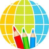 Globe pencil logo Stock Photos