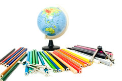 Globe and pencils Royalty Free Stock Images