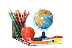 The globe with pencils isolated Stock Photo