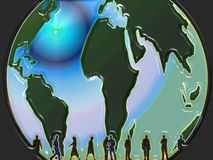 Globe with people. Globe illustration withj people silhouettes Royalty Free Stock Images