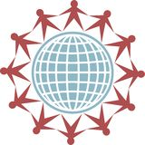 Globe people. Isolated icon of people connecting around the globe Stock Photo