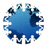 Handshake around the globe. Silhouette of people shaking hands surrounding global map Stock Photography