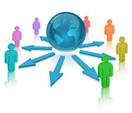 Globe, People and colored arrows Royalty Free Stock Photo