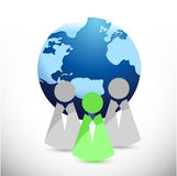 Globe and people in front illustration design Royalty Free Stock Photo