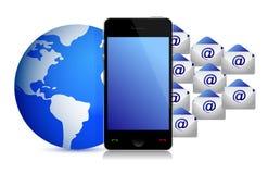 Globe phone envelopes illustration design Royalty Free Stock Photo