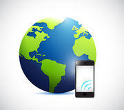 Globe and phone with signal illustration Stock Photos