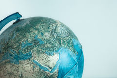 Globe with physical map on it blurred background Stock Photo