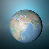 Globe and the physical world with Syria highlighted. Satellite view of Syria from space Royalty Free Stock Images