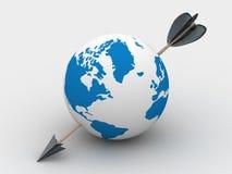 Globe pierced with an arrow. Stock Image