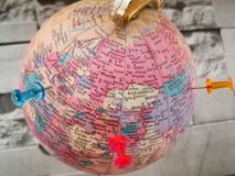World globe with colorful pin. Copy space. Ideas and concept use. stock image