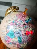 World globe with colorful pin. Copy space. Ideas and concept use. Globe pin copy space ideas concept use colorful colorpin colorfulpin asia europe africa stock photography