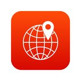 Globe with pin icon digital red. For any design isolated on white vector illustration Stock Images
