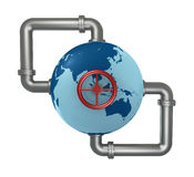 Globe with pipes. Globe world connected with pipes and a wheel (3d render royalty free illustration