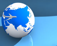 Globe and Plane 001. 3d rendered globe with an airplane 001 Stock Images