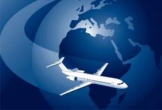 Globe with plane Stock Photos