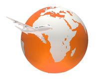 Globe and plane Stock Images