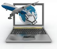 Globe and plane taking off from laptop. Hand cursor, earth globe and passenger plane taking off from the laptop screen. 3d illustration Royalty Free Stock Photo