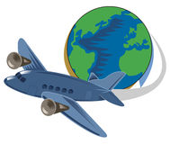 Globe and plane travel Stock Photo