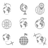 Globe and plane travel icon. Royalty Free Stock Images