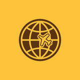 The Globe and plane travel icon. Shipping symbol. Flat Royalty Free Stock Photo