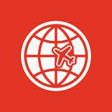 The Globe and plane travel icon. Shipping symbol. Flat Stock Images