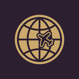 The Globe and plane travel icon. Shipping symbol. Flat Stock Image