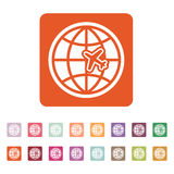 The Globe and plane travel icon. Shipping symbol. Flat Royalty Free Stock Photography