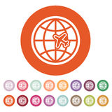 The Globe and plane travel icon. Shipping symbol. Flat Stock Photo