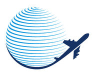 Globe and plane travel icon Stock Photography