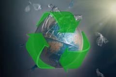 Globe of planet Earth in a garbage bag. Green recycling sign. The concept of conservation of the environment and its resources, royalty free illustration