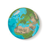 Globe planet earth vector. Hand-drawn with a diagonal shadow Stock Images