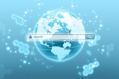 Globe planet with a search string in the Internet. Royalty Free Stock Images