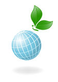 Globe with the plant-butterfly Stock Photos