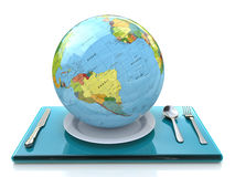 Globe on a plate Royalty Free Stock Photos