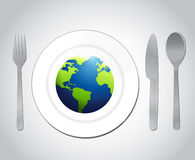 Globe and plate utensils illustration design Stock Photography