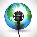 Globe with plug in power outlet Royalty Free Stock Image