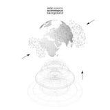 Globe pointillé du monde avec la construction abstraite, canalisations de raccordement et points, molécules sur le fond blanc mol illustration stock