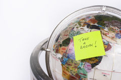 Globe, post-it break Stock Photos