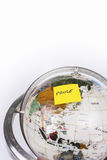 Globe, post-it break Royalty Free Stock Image