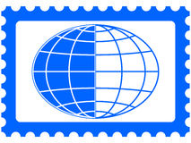 Globe on stamp Stock Image