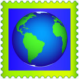 Globe on the postage stamp Royalty Free Stock Images