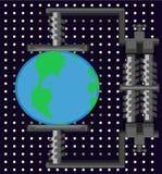 Globe Pressure Cartoon. Globe earth planet environment under pressure metaphor, cartoon vector illustration, horizontal Stock Image
