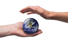 Globe and protective male hands. Concept for global environmental care. Isolated on white. Image public domain http://visibleearth.nasa.gov Stock Image