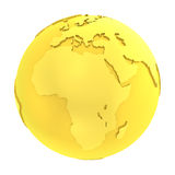 globe pur d'or de la terre 3D d'or Photo libre de droits