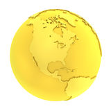globe pur d'or de la terre 3D d'or illustration stock