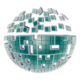 Globe Puzzle. 3d breaking ball puzzle globe design isolated on a white background Stock Image